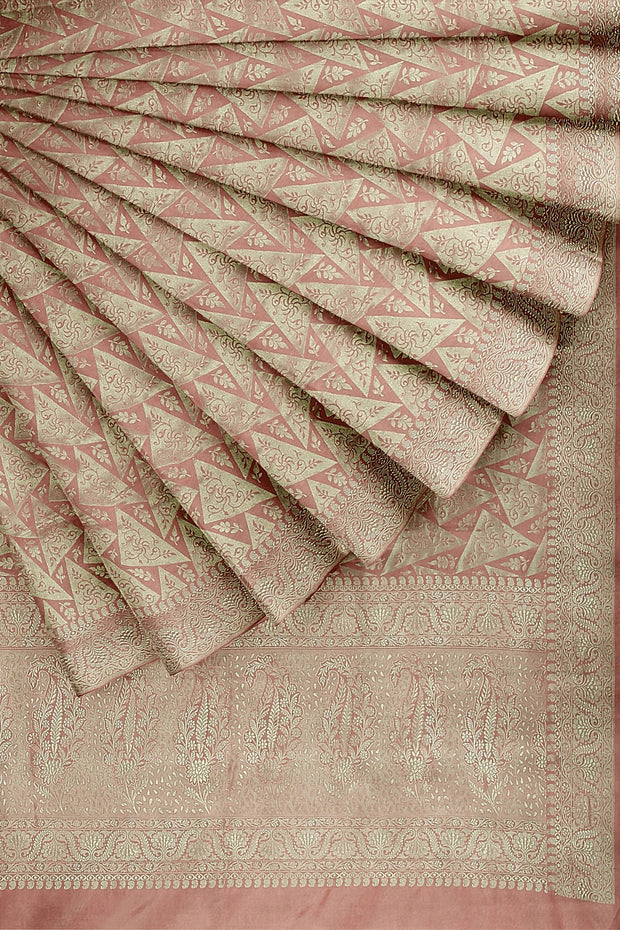 SIGNORAA ONION PINK BANARASI SILK SAREE-BSK09080- Cover View