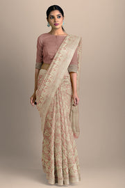 SIGNORAA ONION PINK BANARASI SILK SAREE-BSK09080- Model View