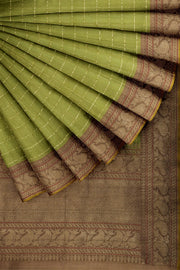 SIGNORAA OLIVE GREEN BANARASI SILK SAREE-BSK09080A- Cover View