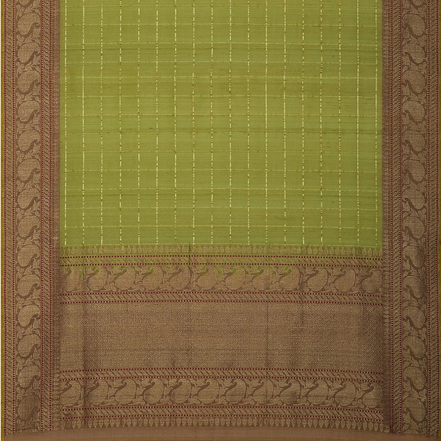 SIGNORAA OLIVE GREEN BANARASI SILK SAREE-BSK09080A- Full View
