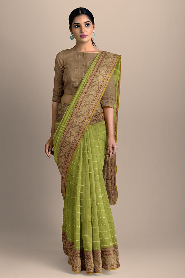 SIGNORAA OLIVE GREEN BANARASI SILK SAREE-BSK09080A- Model View 2