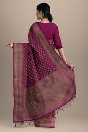 SIGNORAA MAGENTA BANARASI SILK SAREE-BSK08717A- Model View2