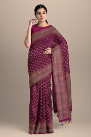 SIGNORAA MAGENTA BANARASI SILK SAREE-BSK08717A- Model View