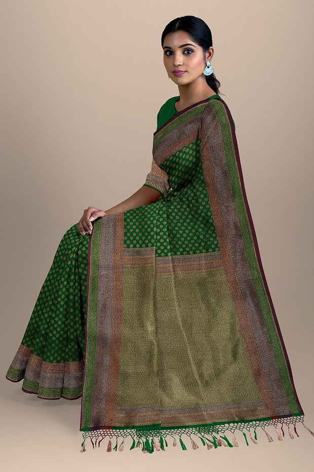 SIGNORAA GREEN BANARASI SILK SAREE-BSK08720- Model View 2