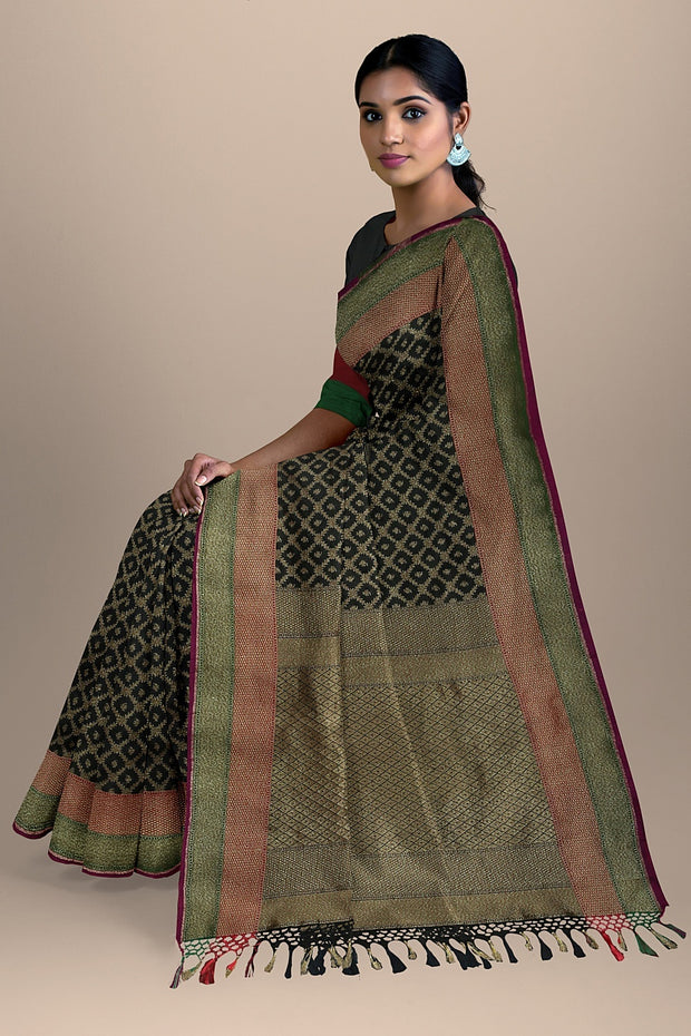 SIGNORAA BLACK BANARASI SILK SAREE-BSK08717C- Model View 2