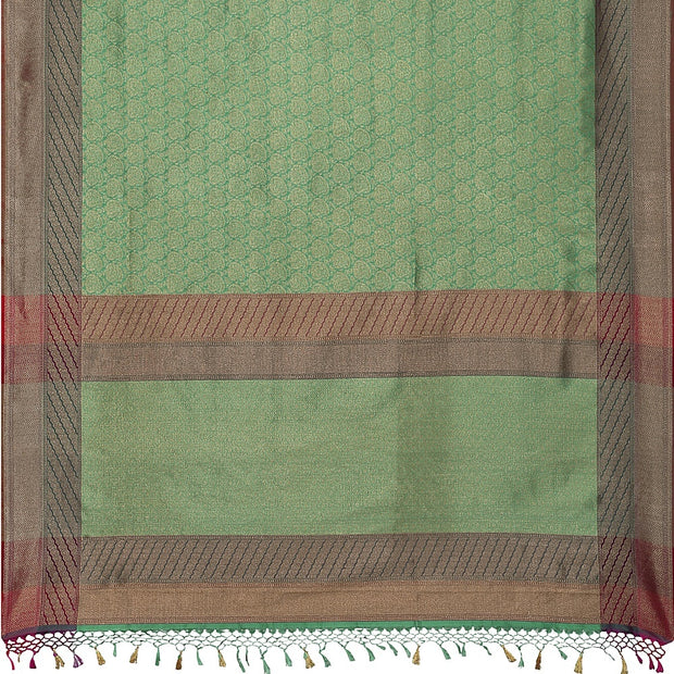 SIGNORAA SEA GREEN BANARASI SILK SAREE-BSK08717D- Full View