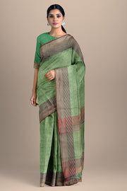 SIGNORAA SEA GREEN BANARASI SILK SAREE-BSK08717D- Model View