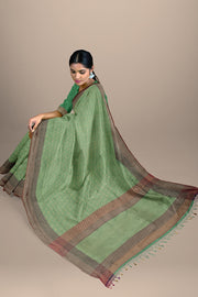 SIGNORAA SEA GREEN BANARASI SILK SAREE-BSK08717D- Model View 2