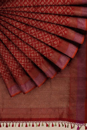 SIGNORAA RED BANARASI SILK SAREE-BSK08717E- Cover View