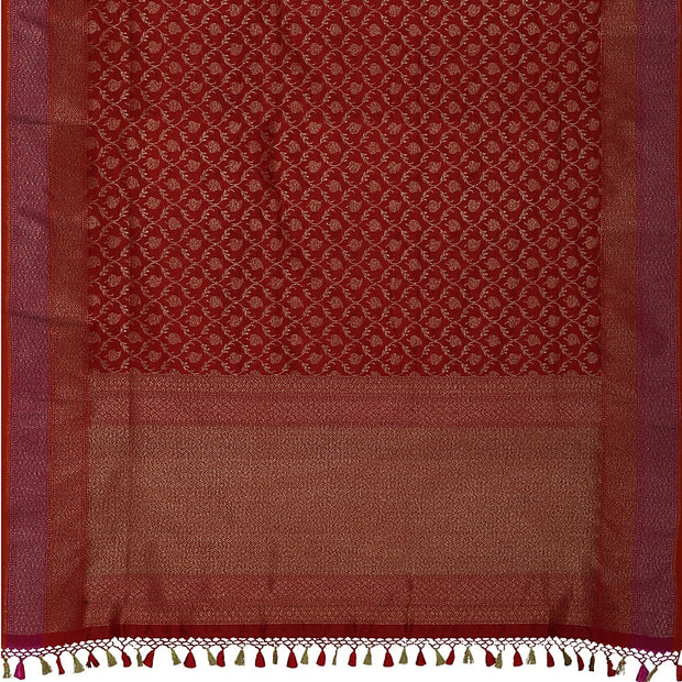 SIGNORAA RED BANARASI SILK SAREE-BSK08717E- Full View
