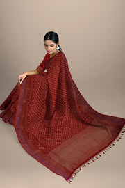 SIGNORAA RED BANARASI SILK SAREE-BSK08717E-Model View