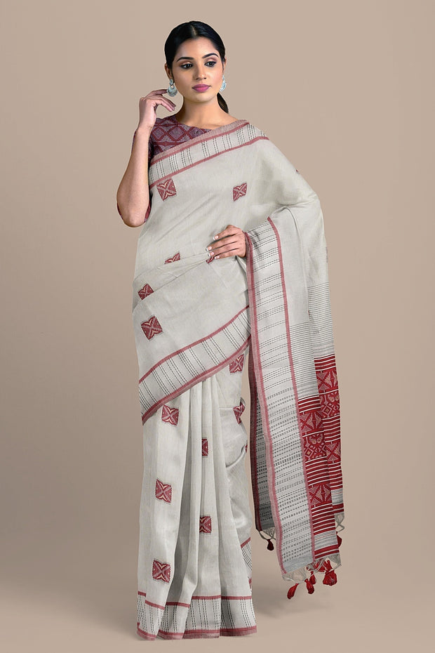 SIGNORAA BEIGE DAILY WEAR TUSSAR SAREE-BLN00091B- Model View 1
