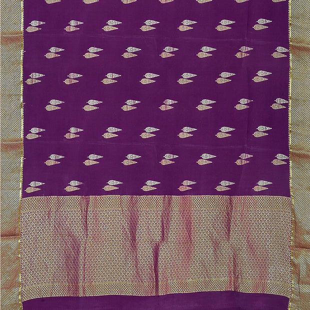 SIGNORAA MAGENTA CREPE SILK SAREE-CRP00849- Full View