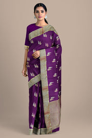 SIGNORAA MAGENTA CREPE SILK SAREE-CRP00849- Model View