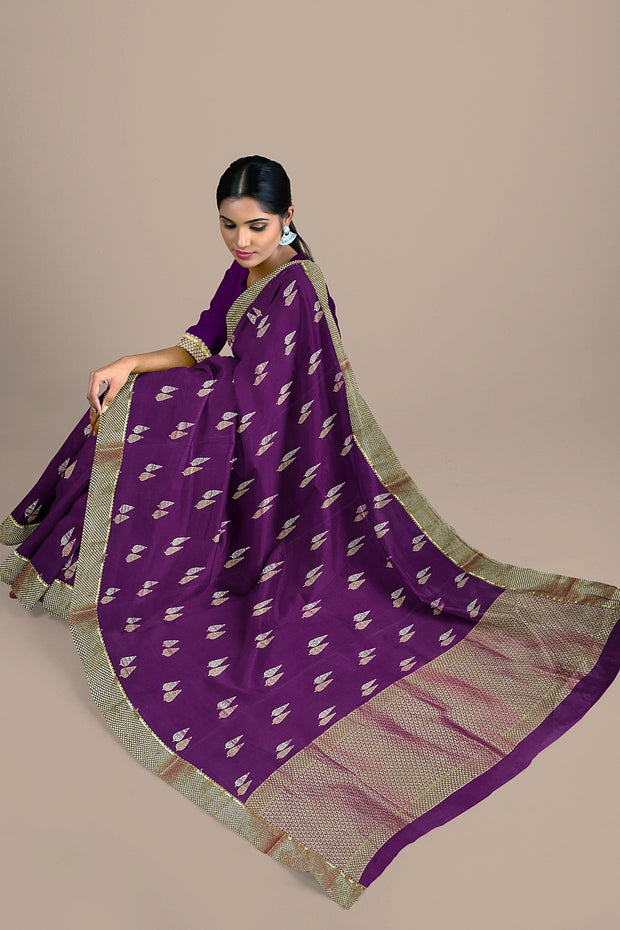 SIGNORAA MAGENTA CREPE SILK SAREE-CRP00849-Model View 2