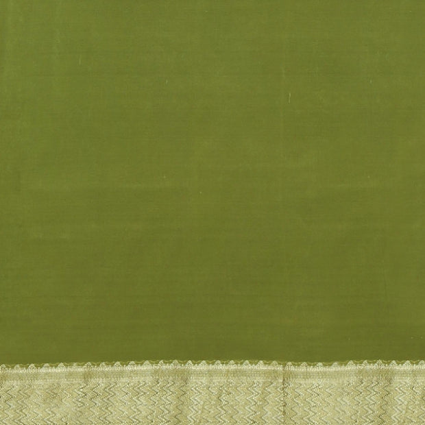 SIGNORAA OLIVE GREEN CREPE SILK SAREE-CRP00850- Blouse View