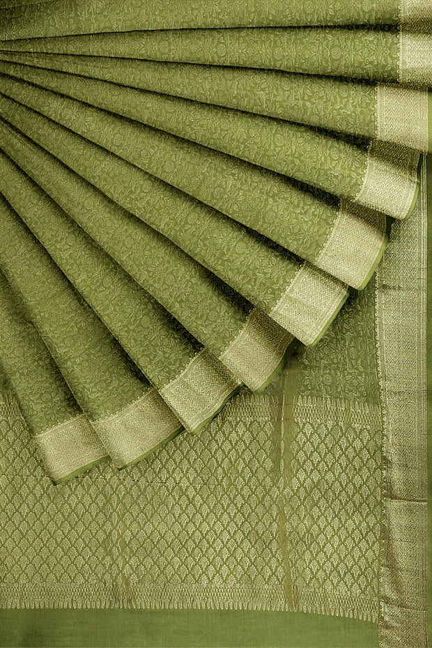 SIGNORAA OLIVE GREEN CREPE SILK SAREE-CRP00850-Cover View