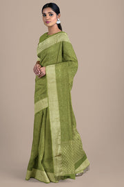 SIGNORAA OLIVE GREEN CREPE SILK SAREE-CRP00850- Model View