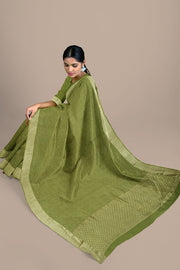 SIGNORAA OLIVE GREEN CREPE SILK SAREE-CRP00850- Model View 2