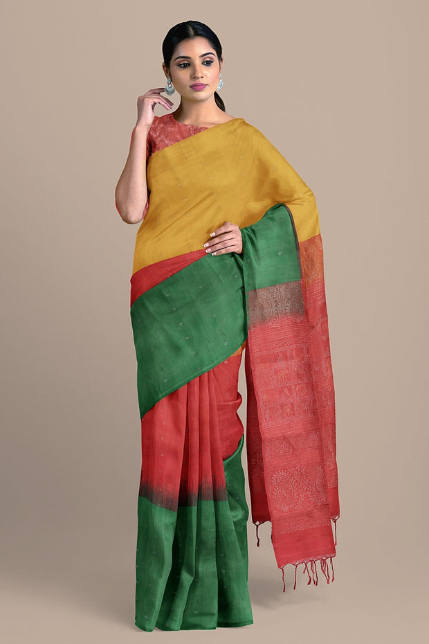 SIGNORAA MULTICOLOUR KANCHIPURAM SOFT SILK SAREE-KSL02549- Model View