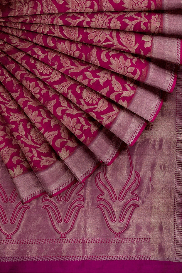 SIGNORAA RANI PINK KANCHIPURAM SOFT SILK SAREE-KSL02551- Cover View