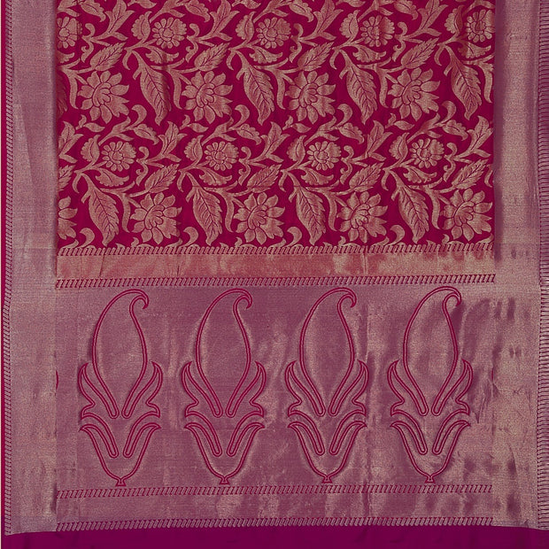 SIGNORAA RANI PINK KANCHIPURAM SOFT SILK SAREE-KSL02551- Full View
