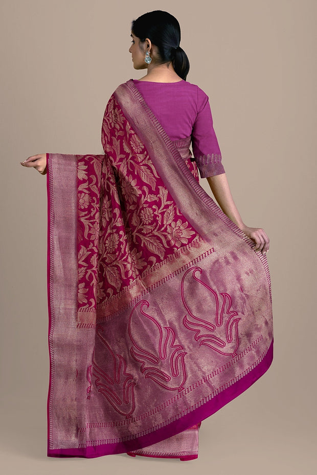 SIGNORAA RANI PINK KANCHIPURAM SOFT SILK SAREE-KSL02551- Model View 2