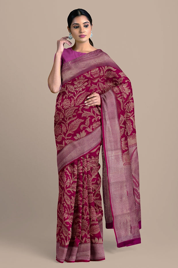 SIGNORAA RANI PINK KANCHIPURAM SOFT SILK SAREE-KSL02551- Model View