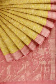 SIGNORAA YELLOW KANCHIPURAM SOFT SILK SAREE-KSL02556- Cover View