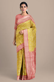 SIGNORAA YELLOW KANCHIPURAM SOFT SILK SAREE-KSL02556- Model View