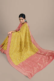 SIGNORAA YELLOW KANCHIPURAM SOFT SILK SAREE-KSL02556- Model View 2