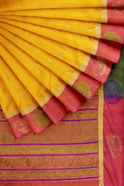 SIGNORAA MUSTARD KANCHIPURAM SOFT SILK SAREE-KSL02605- Cover View