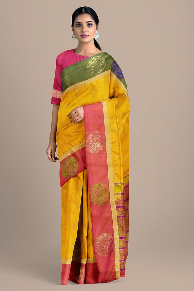 SIGNORAA MUSTARD KANCHIPURAM SOFT SILK SAREE-KSL02605- Model View