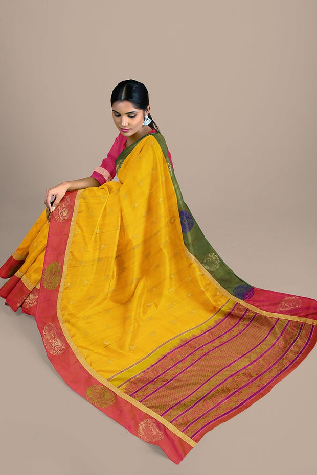 SIGNORAA MUSTARD KANCHIPURAM SOFT SILK SAREE-KSL02605- Model View 2