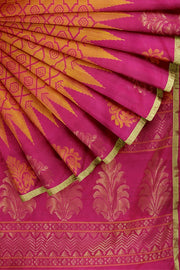 SIGNORAA SHOT ORANGE KANCHIPURAM SOFT SILK SAREE-KSL02607- Cover View