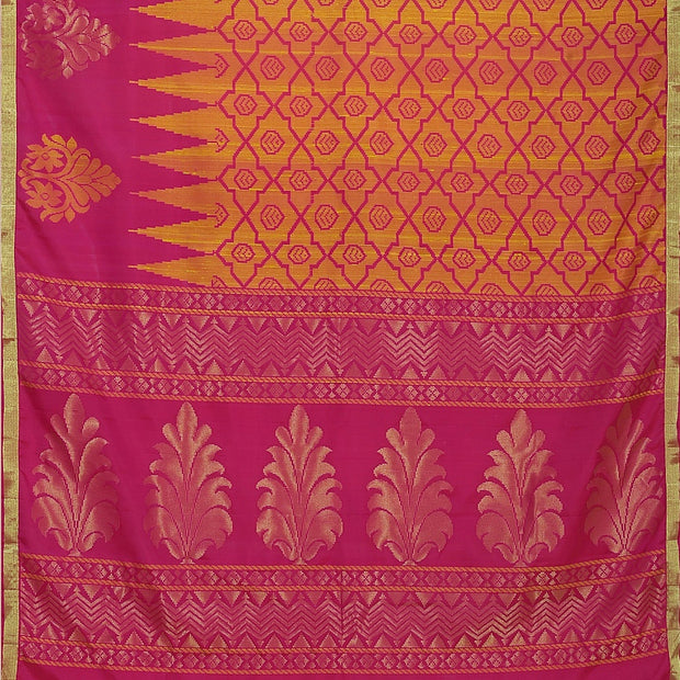 SIGNORAA SHOT ORANGE KANCHIPURAM SOFT SILK SAREE-KSL02607- Full View