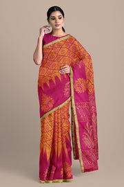 SIGNORAA SHOT ORANGE KANCHIPURAM SOFT SILK SAREE-KSL02607- Model View