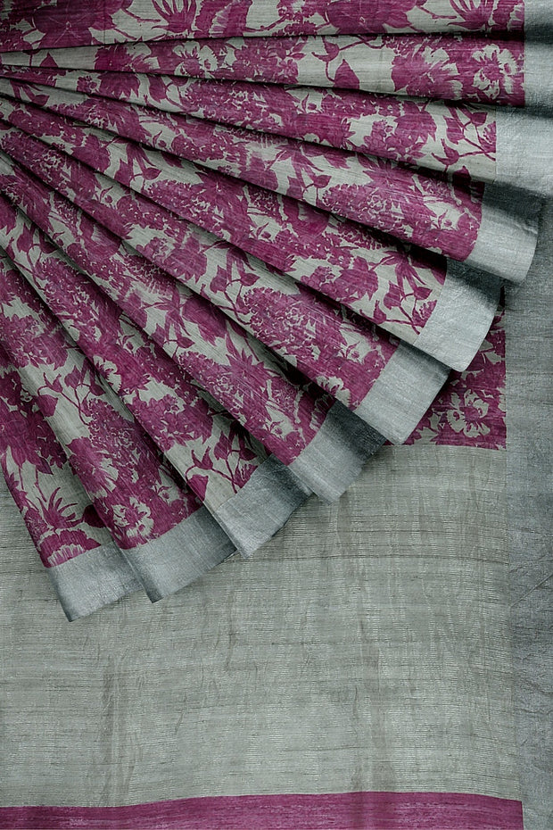 SIGNORAA LIGHT GREY JUTE TUSSAR SAREE-PTS04520A- Cover View