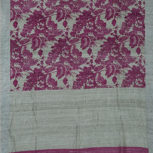 SIGNORAA LIGHT GREY JUTE TUSSAR SAREE-PTS04520A- Full View