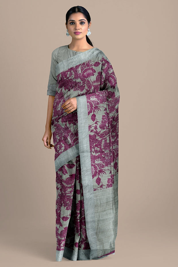 SIGNORAA LIGHT GREY JUTE TUSSAR SAREE-PTS04520A- model View