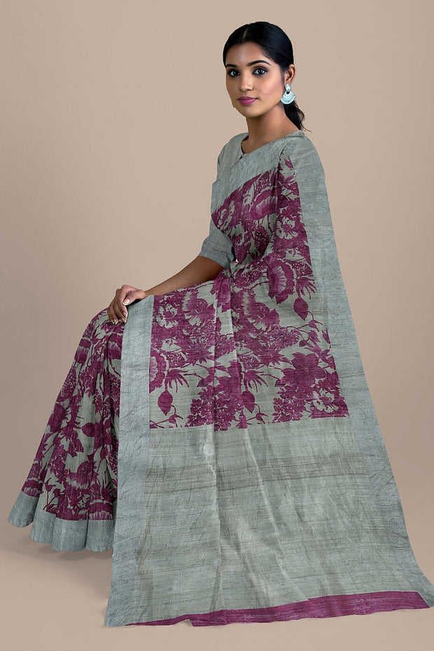 SIGNORAA LIGHT GREY JUTE TUSSAR SAREE-PTS04520A- Model View 2