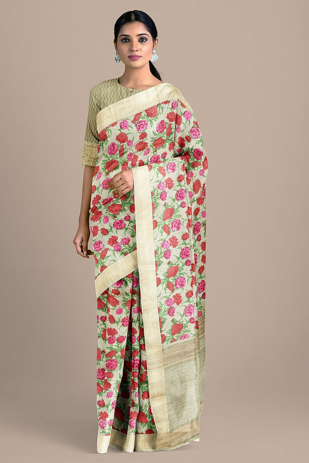 SIGNORAA CREAM TUSSAR SILK SAREE-PTS04556- Model View