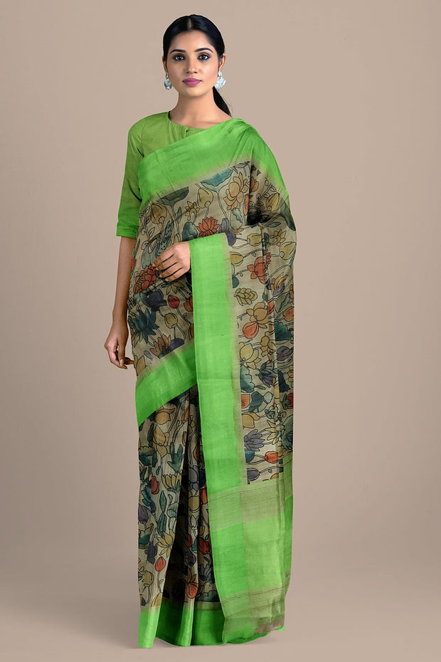SIGNORAA BEIGE TUSSAR SILK SAREE-PTS04563- Model View