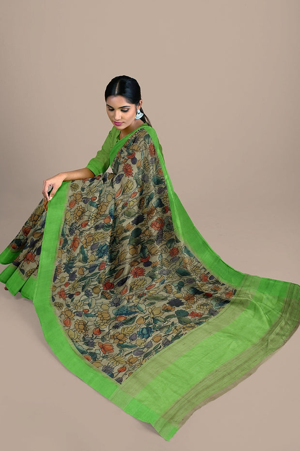 SIGNORAA BEIGE TUSSAR SILK SAREE-PTS04563- Model View 2