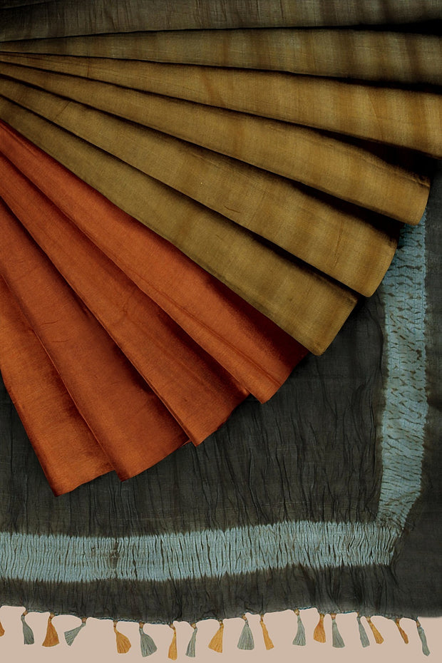 SIGNORAA RUST AND MUSTARD TUSSAR SILK SAREE-PTS04658- Cover View