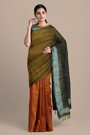 SIGNORAA RUST AND MUSTARD TUSSAR SILK SAREE-PTS04658- Model View