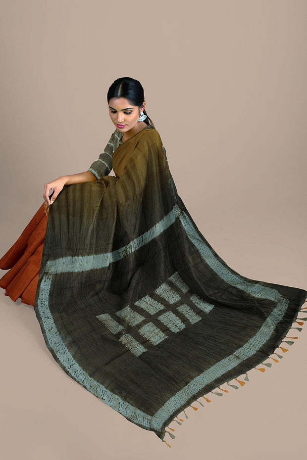 SIGNORAA RUST AND MUSTARD TUSSAR SILK SAREE-PTS04658- Model View 2