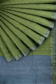 SIGNORAA OLIVE GREEN TUSSAR SILK SAREE-PTS04691- Cover View