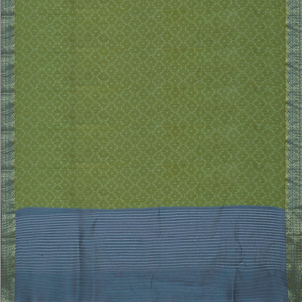 SIGNORAA OLIVE GREEN TUSSAR SILK SAREE-PTS04691- Full View