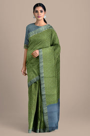 SIGNORAA OLIVE GREEN TUSSAR SILK SAREE-PTS04691- Model View